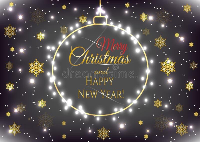 Nowego Roku wakacje karta z złocistą Bożenarodzeniową piłką i złotymi płatek śniegu ilustracji