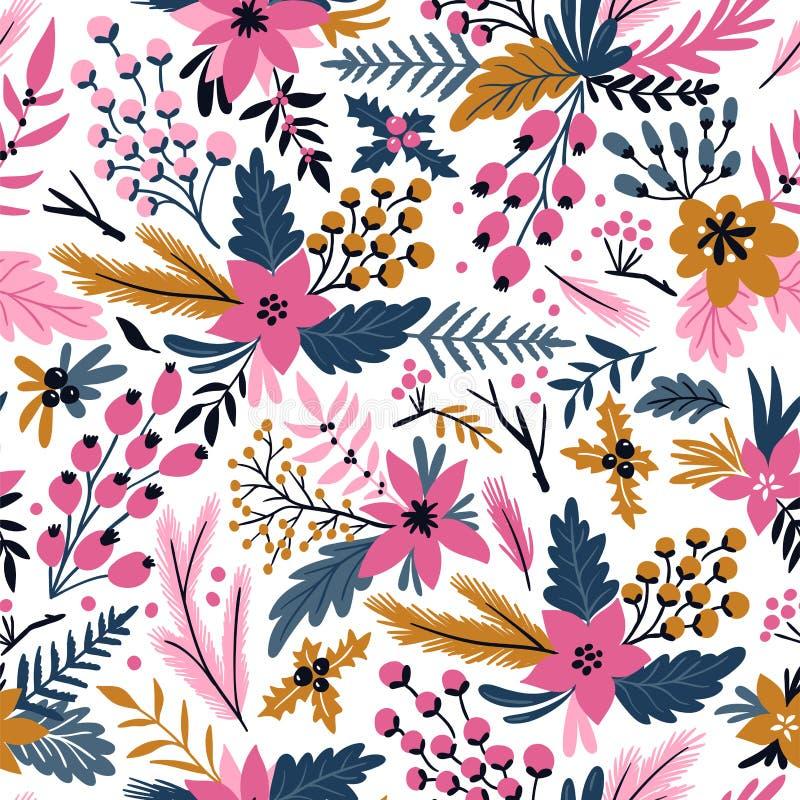 Nowego roku wektorowy bezszwowy wzór z gałąź, jagodami i kwiatami, Bożenarodzeniowa kwiecista ręka rysujący opakunku papier royalty ilustracja