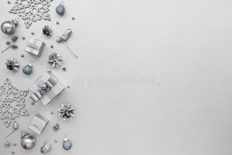 Nowego Roku wzór na srebnym tle obrazy royalty free