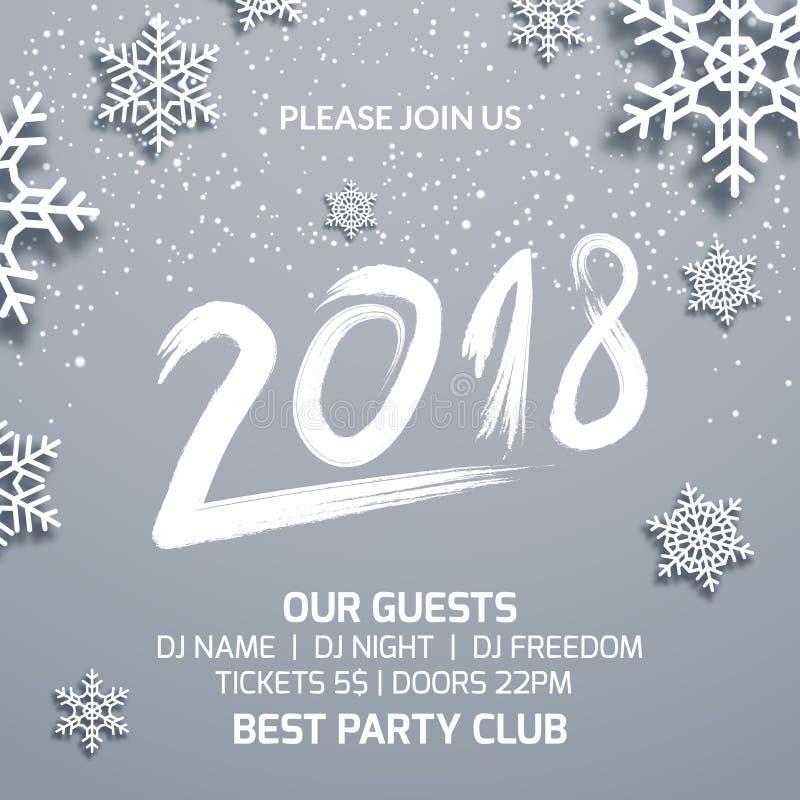Nowego Roku 2018 zaproszenia dekoraci partyjny plakatowy projekt Tanczy dyskoteki xmas szablonu wakacyjnego tło z płatkami śniegu ilustracji