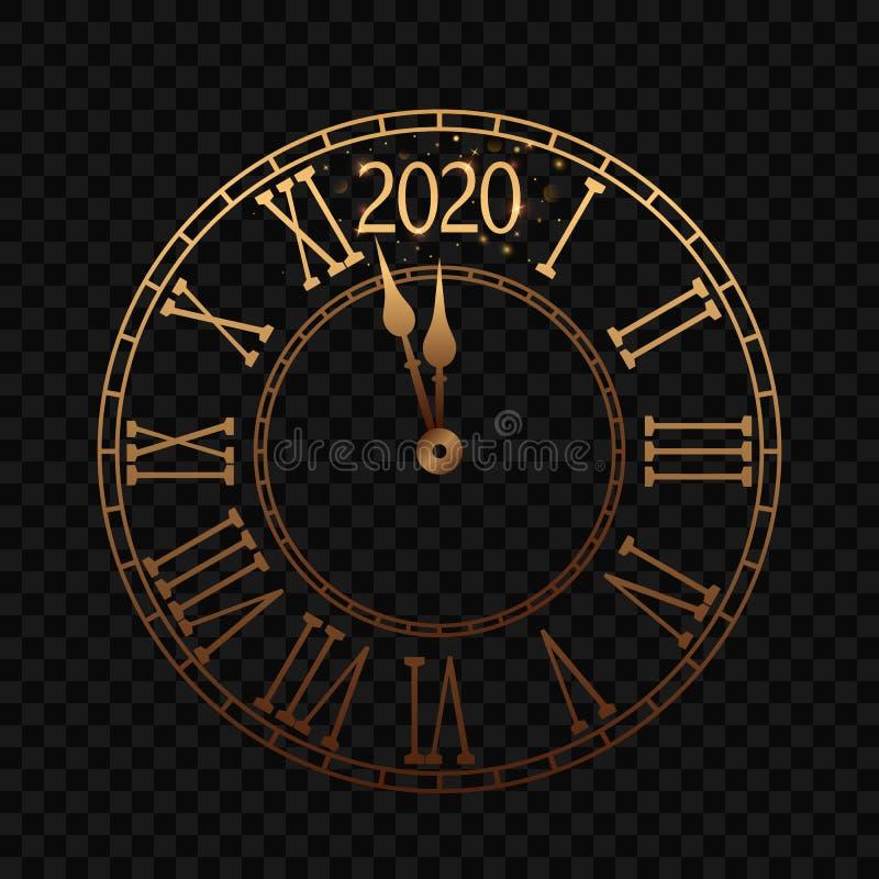 Nowego Roku zegar z Romańską tarczą few minuty do północ 2020 royalty ilustracja