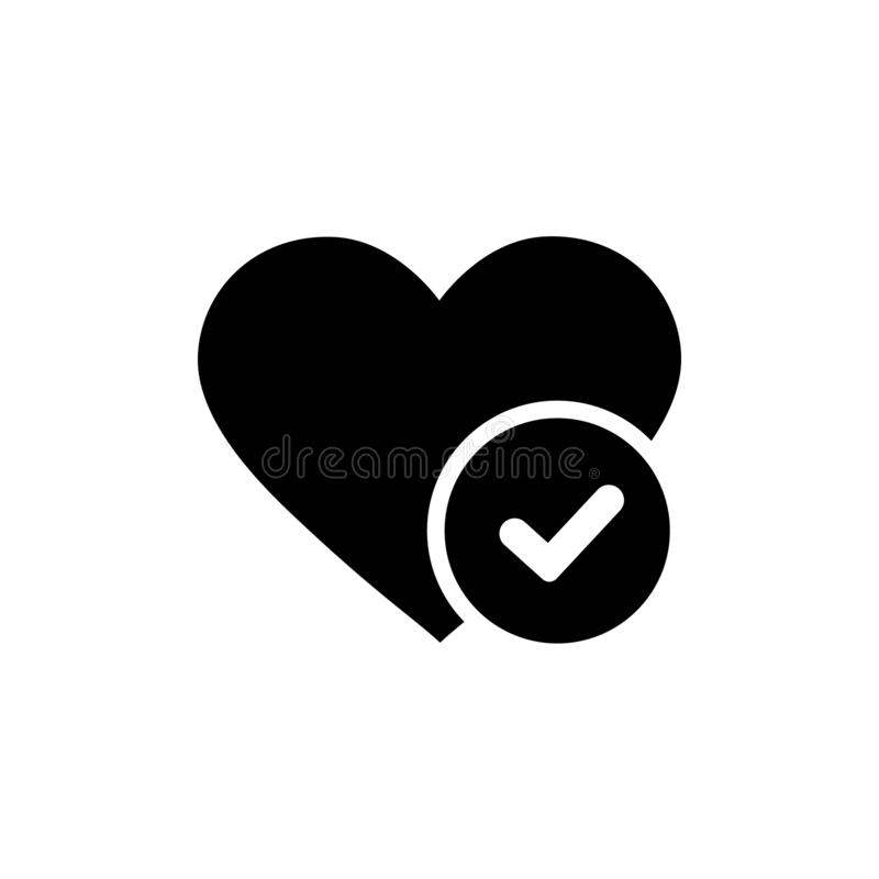 Nowego serce cwelicha wektorowa ikona, płaskiego projekta zdrowy serce z checkmark symbolu ilustracją, medycyny dla kierowego log ilustracji