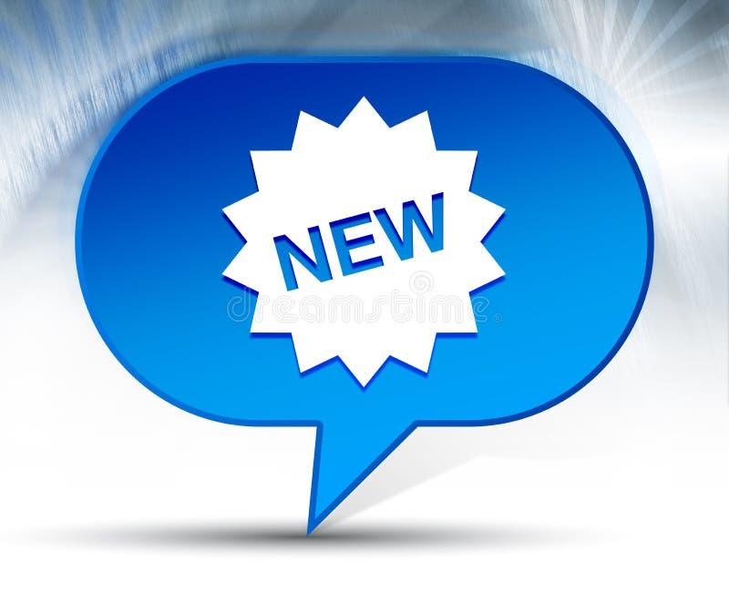 Nowej gwiazdowej odznaki ikony bąbla błękitny tło obrazy stock