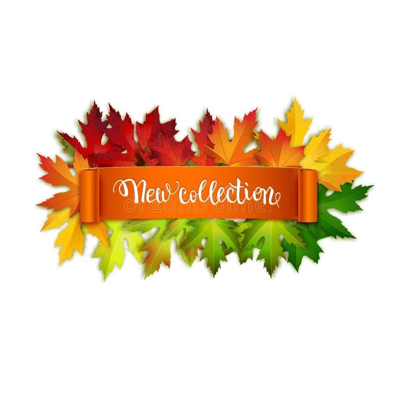 Nowej jesieni inkasowa reklama, szczotkarskiego pióra ręcznie pisany tekst royalty ilustracja
