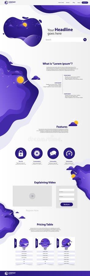 Nowej Modnej lądowanie strony strony internetowej szablonu Wektorowy projekt royalty ilustracja