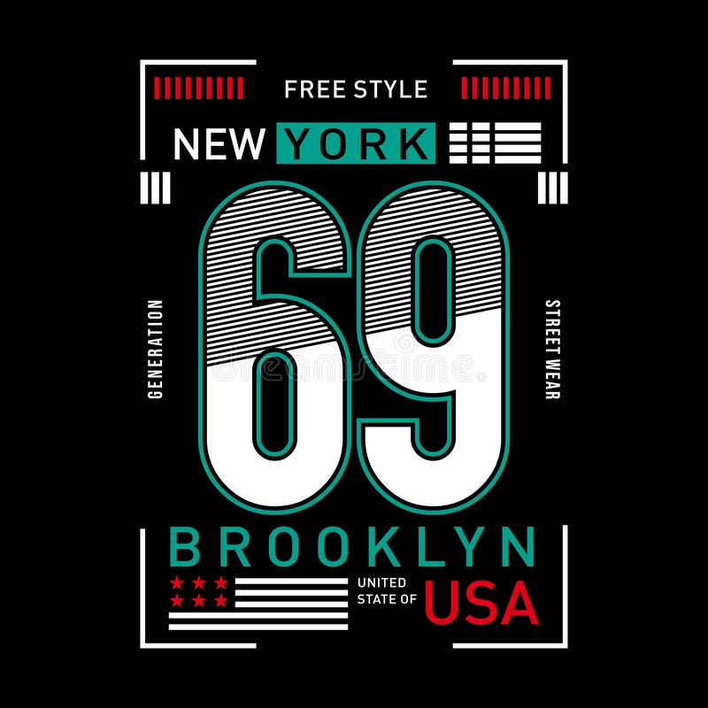 Nowej York graficznej typografii miastowi potomstwa bawją się odzież ilustracja wektor