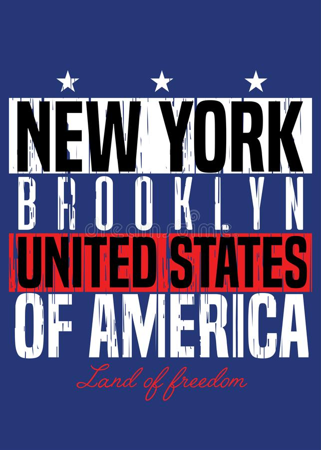 Nowej York plakatowej amerykańskiej dumy kolorowa odzież martwiąca royalty ilustracja
