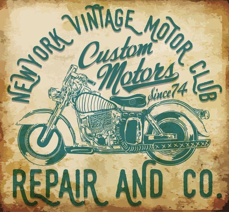 Nowej York rocznika koszulki motocyklu graficzny klub ilustracji