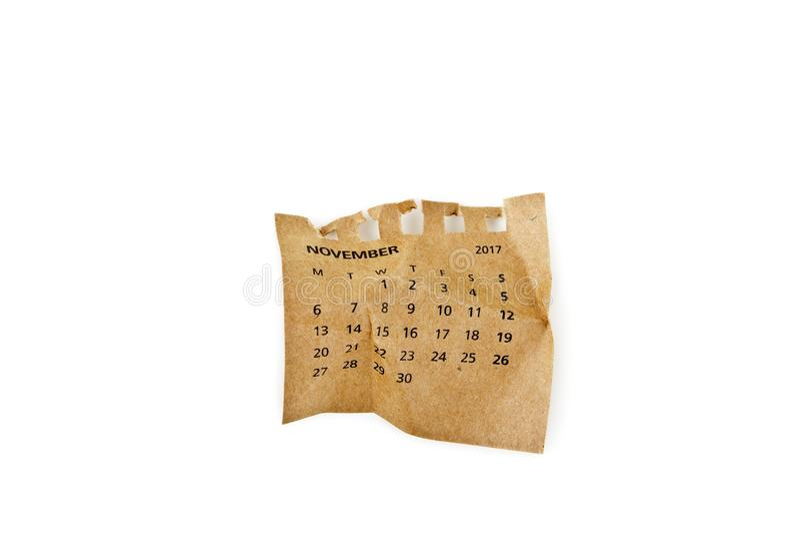 nowenna Zmięty kalendarza prześcieradło razem przechodzącego zdjęcie stock