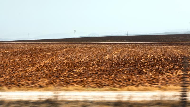 Nowhere in Andalucía. Empty fields in the countryside of Andalucia, Spain royalty free stock photography