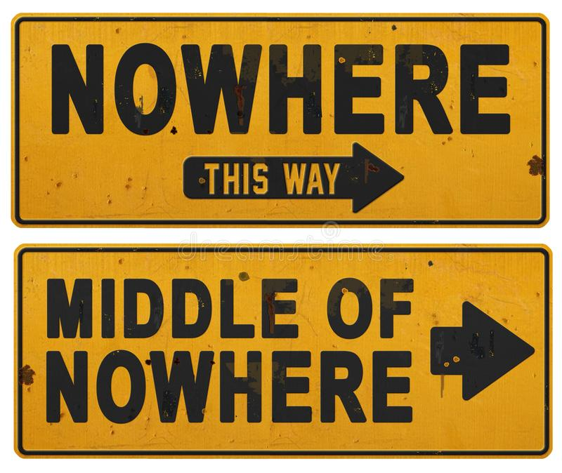 Nowhere sign grunge middle of nowhere fun retro vintage stock image