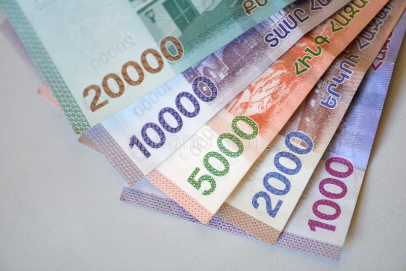 Nowi banknoty republika Armenia zdjęcie stock