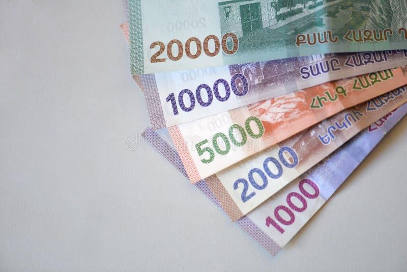 Nowi banknoty republika Armenia fotografia stock