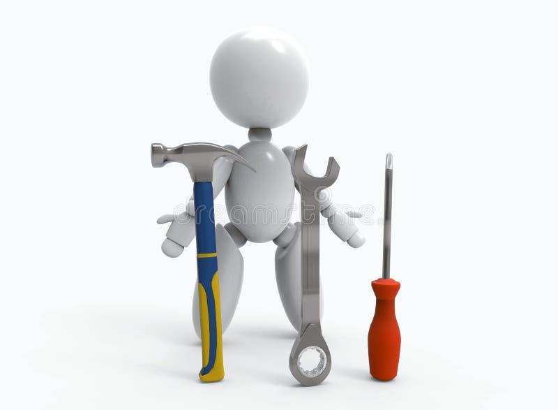 Nowi 3D ludzie - młot, wyrwanie, śrubokręt royalty ilustracja