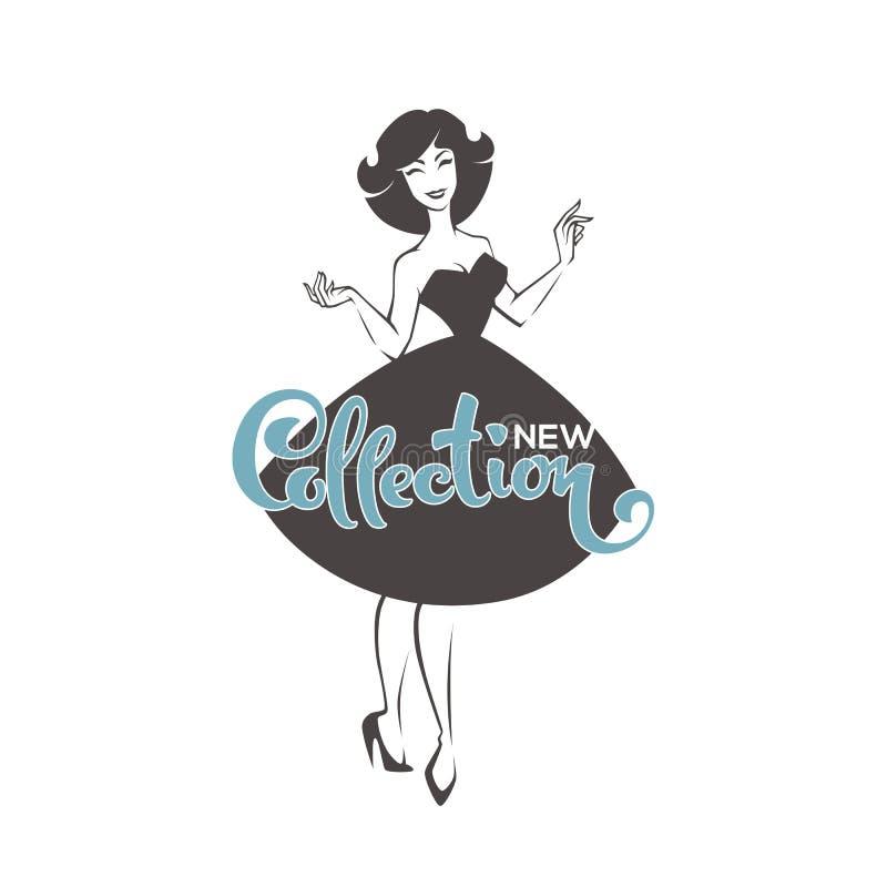 Nowi inkasowi przyjazdy, nowy wygląd stylowa dziewczyna, wektorowa retro dama ilustracja wektor