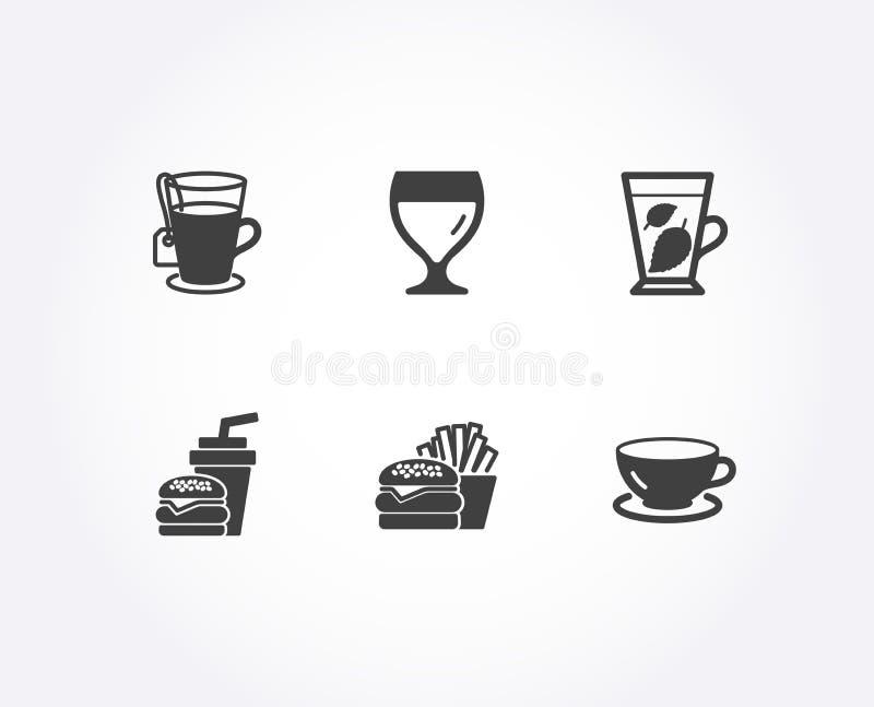 Nowi liście, ikony, hamburgeru i herbaty Hamburger, wina szkło i kawa espresso znaki, ilustracji