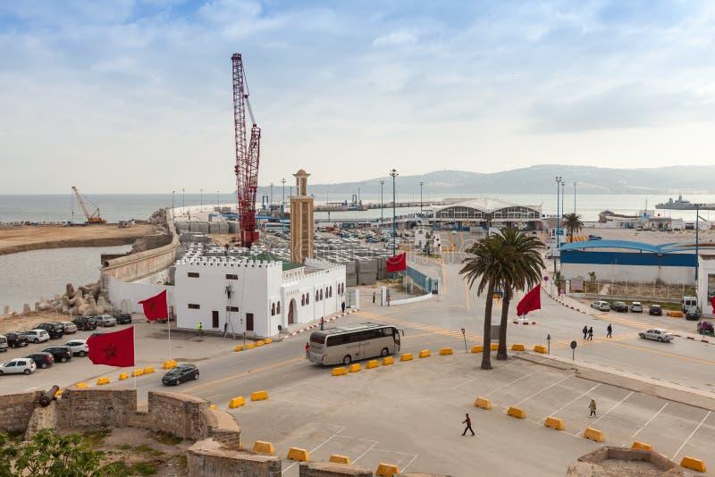 Nowi pasażerscy terminale w budowie w porcie Tangier, Afryka obraz royalty free