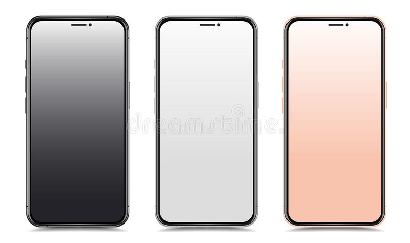 Nowi realistyczni smartphones ustawiają mockups odizolowywających na białym tle ilustracji