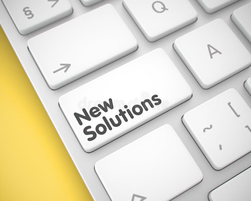 Nowi rozwiązania - wiadomość na Białym Klawiaturowym kluczu 3d royalty ilustracja