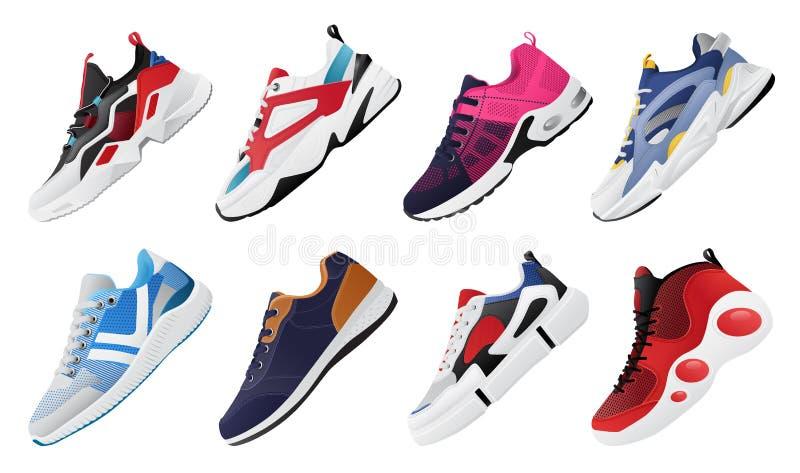 Nowi sprawno?ci fizycznych sneakers ustawiaj?, moda buty dla trenowa? dzia?aj?cego but Sport?w buty Ustawiaj?cy royalty ilustracja