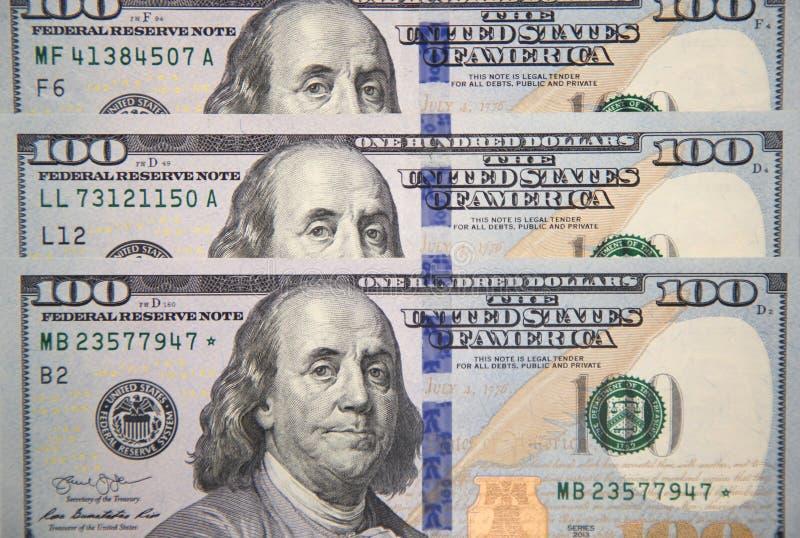 Nowi sto dolarowych rachunków z portretem Franklin zdjęcia royalty free