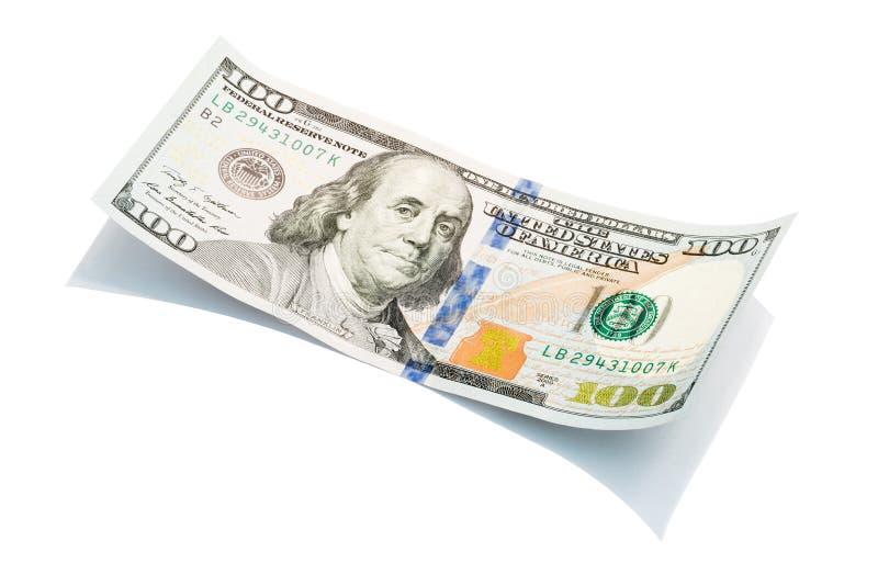 Nowi 100 Usa dolarowy rachunek na bielu, makro- strzał S 100 dolar rachunki obraz royalty free