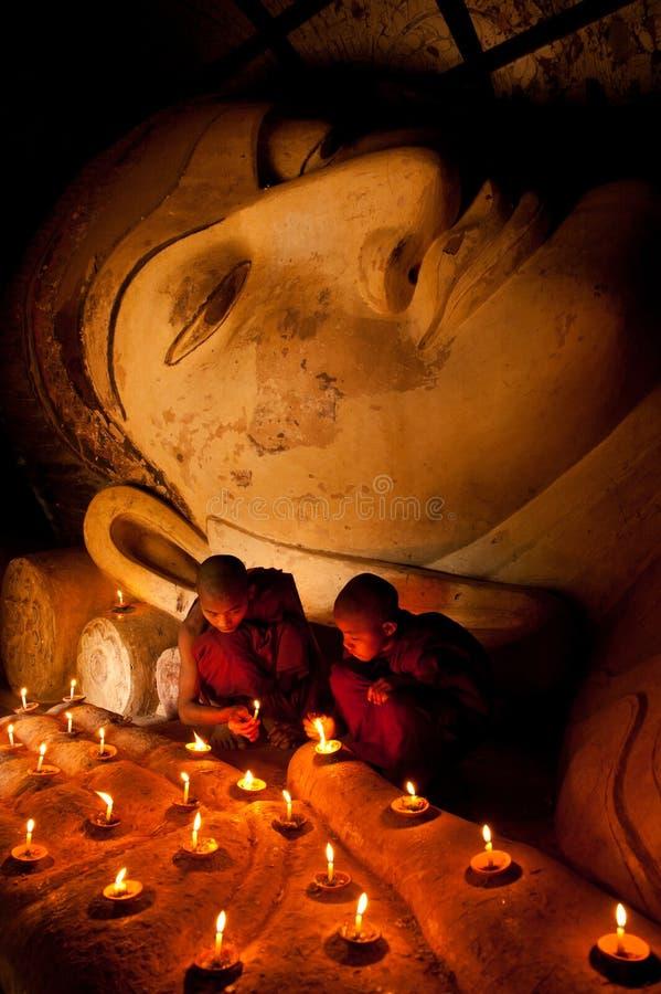 Nowicjuszów michaelita w Bagan obraz royalty free