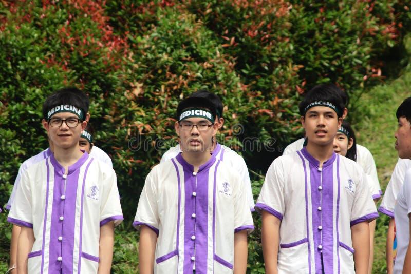 Nowicjusz Powitalna ceremonia Chiang Mai uniwersytet, Tajlandia obrazy stock