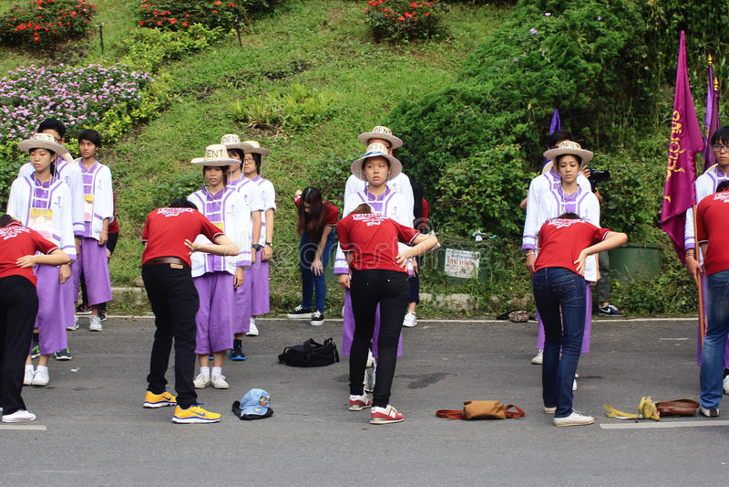 Nowicjusz Powitalna ceremonia Chiang Mai uniwersytet, Tajlandia fotografia stock