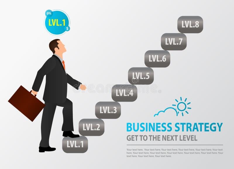 Nowicjusza biznesmena początki wspinać się schodki Pojęcie strategia biznesowa, budynku biznes, przyrost, równowaga, sukces, t ilustracji