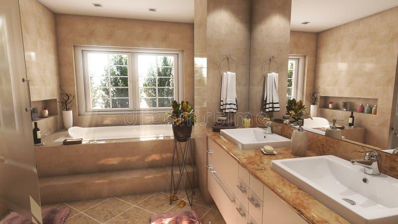 Nowożytna beżowa łazienka z dwa zlew i dużą lustra 3D ilustracją ilustracji