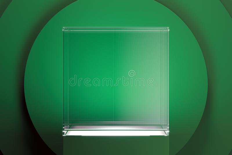 Nowożytna gablota wystawowa z pustą przestrzenią na piedestale na zielonym tle świadczenia 3 d royalty ilustracja