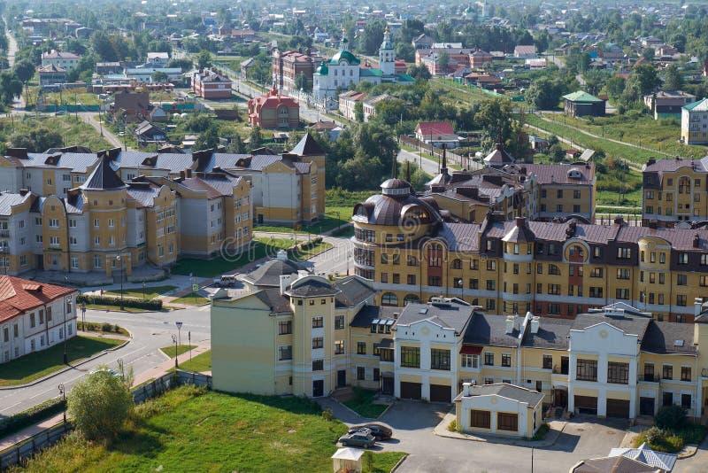 Nowożytne mieszkaniowe ćwiartki w podgórskim blisko Tobolsk Kremlin Tobolsk Rosja zdjęcia stock