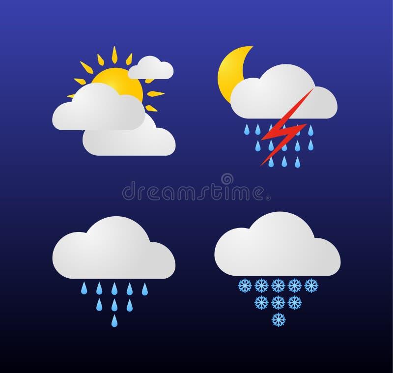 Nowożytne pogodowe ikony ustawiać Płascy wektorowi symbole na ciemnym tle Jak etykietki, znak, simbol royalty ilustracja