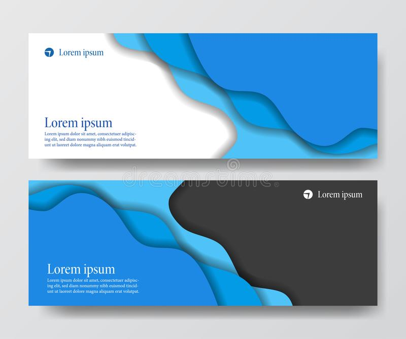 Nowożytnego błękitnego biznesowego chodnikowa sztandaru setu fali origami papieru rżnięty rzemiosło ilustracja wektor