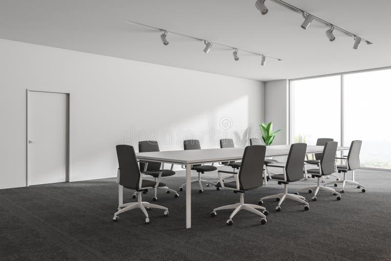 Nowożytnego bielu pusty biurowy wnętrze z debaty przestrzenią 3 d czynią Mockup plakat ilustracja wektor