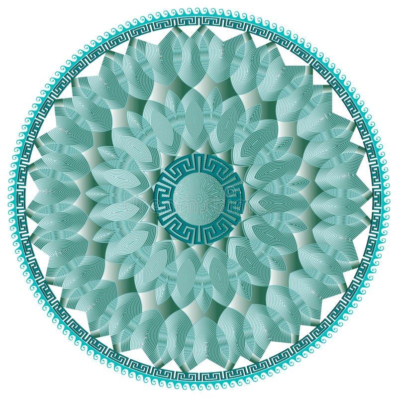 Nowożytnego round mandala grecki kwiecisty wektorowy wzór Niebieskiej linii sztuka 3d kwitnie, liście, kształty Grków meanderów k ilustracja wektor