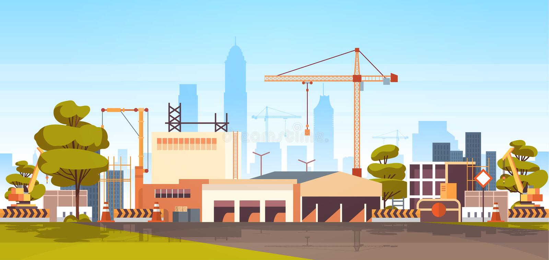 Nowożytnej miasto budowy basztowi żurawie buduje budynku mieszkalnego pejzażu miejskiego linia horyzontu tła mieszkanie horyzonta ilustracji