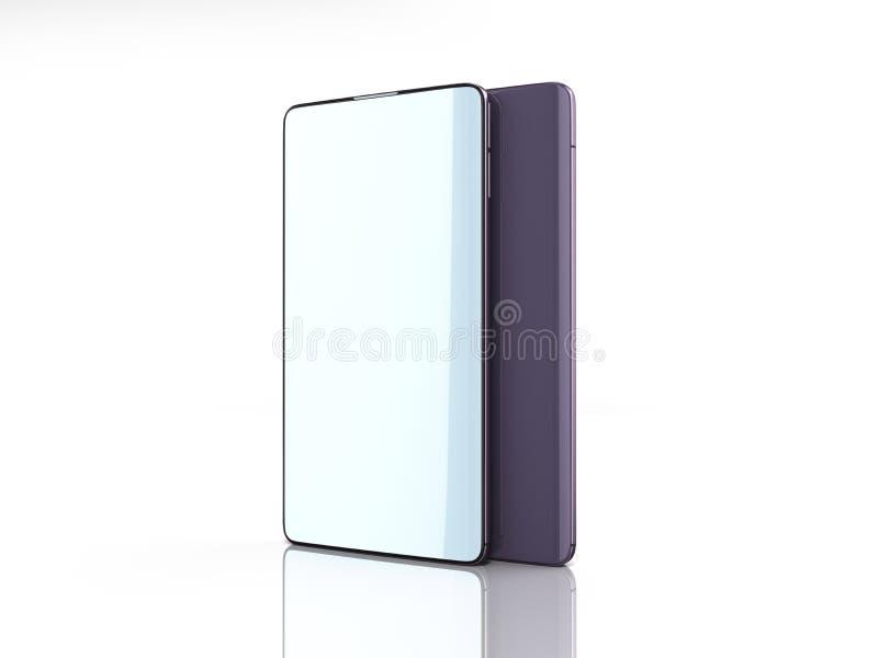 Nowożytni pełnego ekranu mądrze telefony 3d odpłacają się na bielu ilustracja wektor