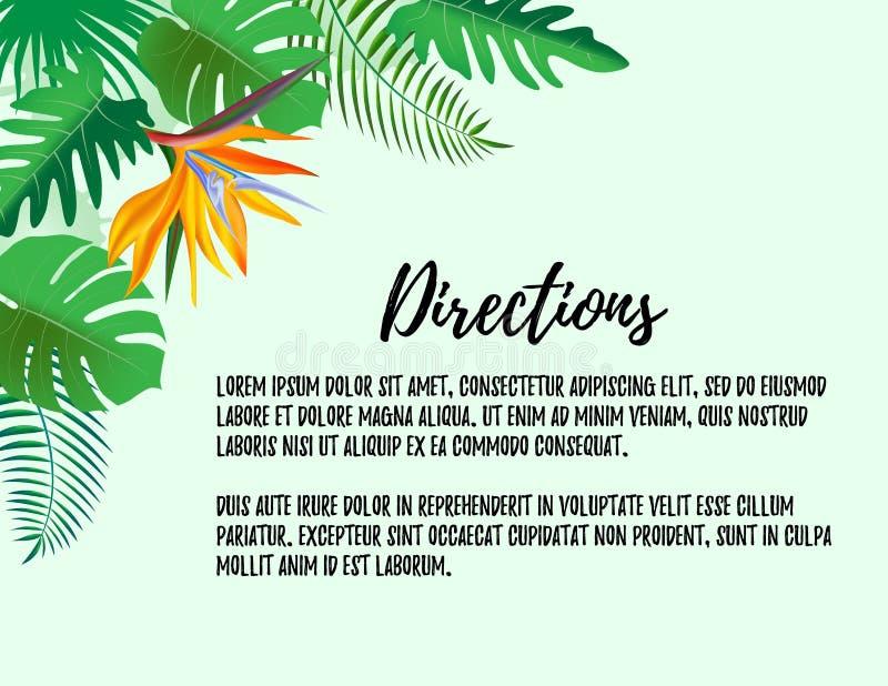 Nowożytni stylowi kierunki poślubia zaproszenie kartę z tropikalnym egzotycznym kwiat ramy tłem, kwiecista element etykietka 10 t royalty ilustracja