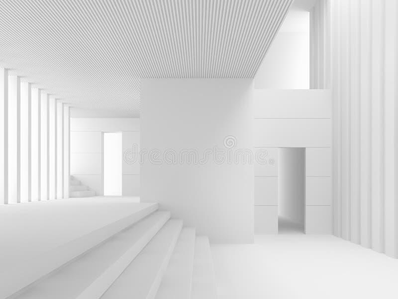 Nowożytny biel przestrzeni wnętrze z wiele krok 3d odpłaca się ilustracja wektor