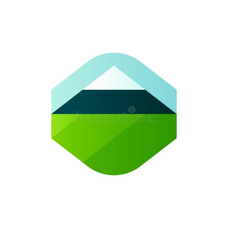 Nowożytny geometryczny logo oceny szablon lub ikona wiejski krajobraz z rolniczym polem i górą ilustracji