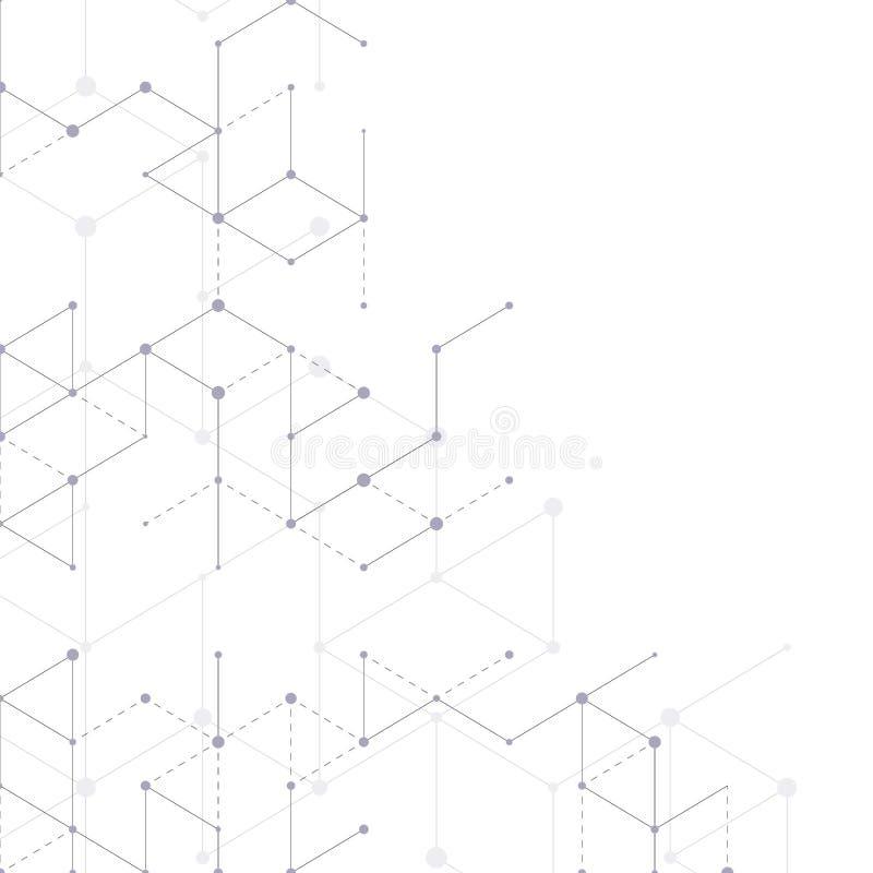 Nowożytny kreskowej sztuki wzór z złączonymi liniami na białym tle Podłączeniowa struktura Abstrakcjonistyczna geometryczna grafi royalty ilustracja