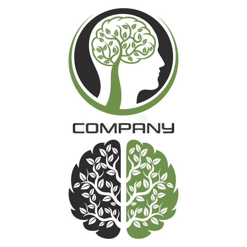 Nowożytny móżdżkowy drzewny logo również zwrócić corel ilustracji wektora royalty ilustracja
