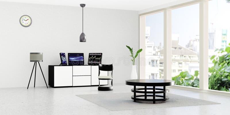 Nowożytny pracujący izbowy wnętrze, 3 czarny komputer stacjonarny stawia dalej białego kreślarza przed biel ścianą royalty ilustracja