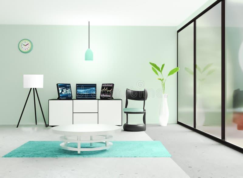 Nowożytny pracujący izbowy wnętrze, 3 czarny komputer stacjonarny stawia dalej białego kreślarza przed jasnozieloną ścianą royalty ilustracja