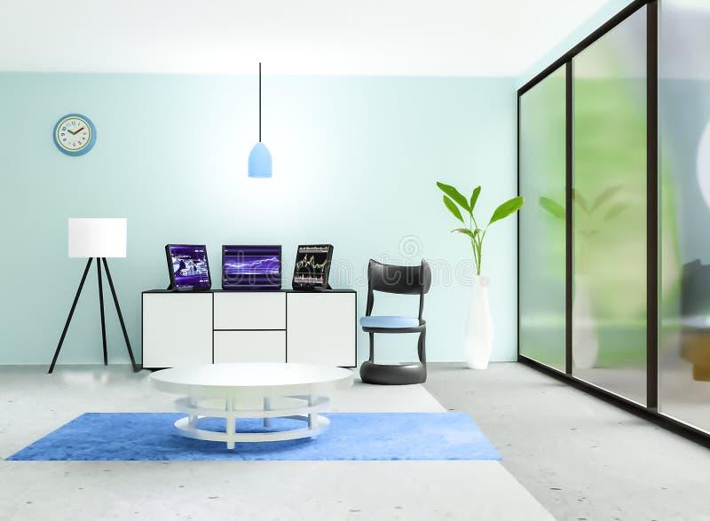 Nowożytny pracujący izbowy wnętrze, 3 czarny komputer stacjonarny stawia dalej białego kreślarza przed lekką cyan ścianą ilustracja wektor