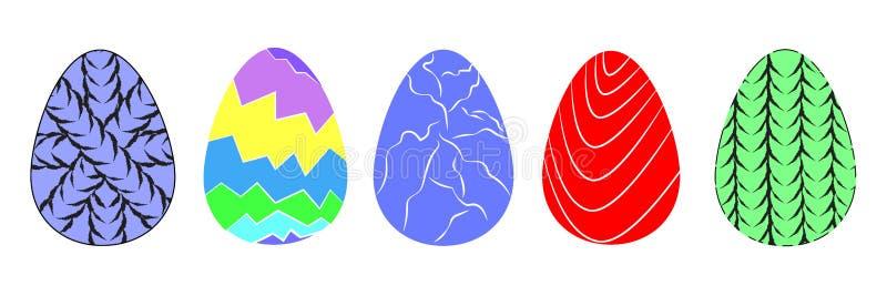 Nowożytny set dekoracyjne malować Wielkanocnego jajka ikony ilustracja wektor
