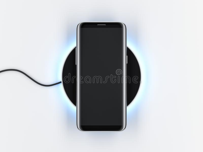 Nowożytny Smartphone mockup z bezszkieletowym ekranem na bezprzewodowym ładuje przyrządzie obraz stock