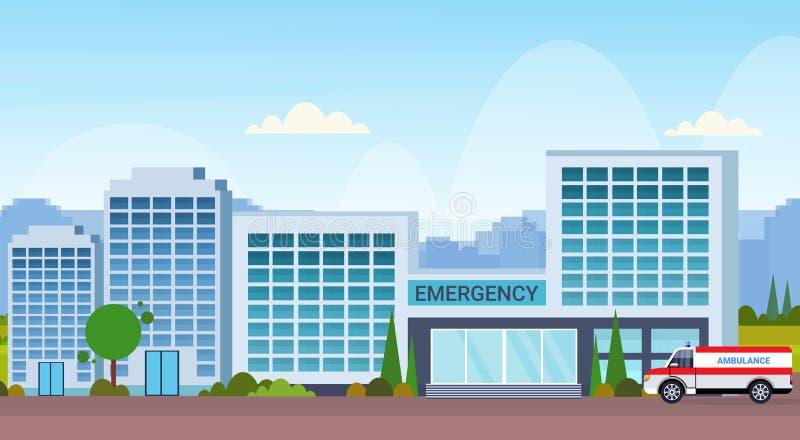 Nowożytny szpitalny budynek z ambulansowym samochodowym medycznej kliniki pejzażu miejskiego tła zewnętrznym mieszkaniem horyzont royalty ilustracja